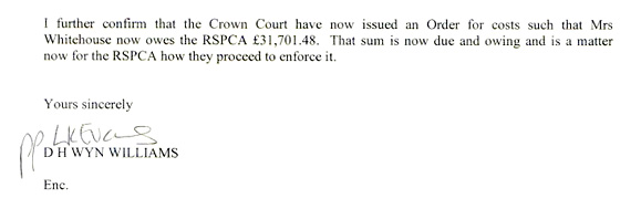 Costs owed by Mrs V. Whitehouse to the RSPCA