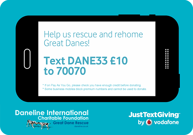You can now help Daneline to rescue and rehome Great Danes by texting DANE33 �10 to 70070