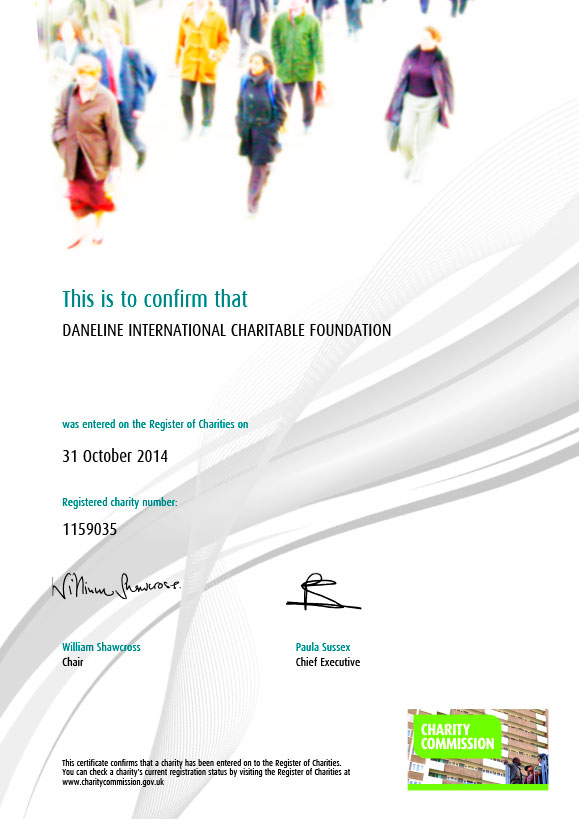 Daneline International Charitable Foundation registered charity certificate